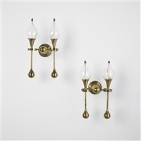 oil lamp sconces (pair) by freddie andersen