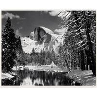 half dome, merced river, winter, yosemite valley by ansel adams