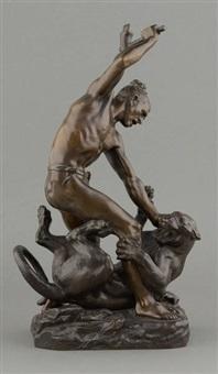 l'homme vainquant la lionne by françois auguste hippolyte peyrol