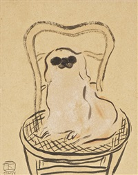 pekinese on a chair by sanyu