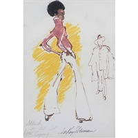 the player and his lady, atlanta by leroy neiman