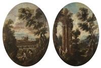 paesaggio fluviale con lavandaia; paesaggio fluviale con donne, fanciullo e rovine di tempio (2 works) by anonymous (18)