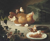 a hen and chicks feeding in a landscape by jacob samuel