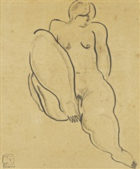 sitting nude by sanyu