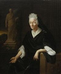 bildnis einer alten dame (einer begine?). kniestück, an einem fenster mit landschaftsausblick sitzend by pieter van der werff