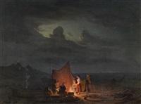 fischerfamilie am offenen feuer vor nächtlicher küstenlandschaft der ostsee by daniel hermann anton melbye