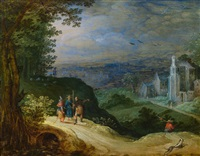 landschaft mit gang nach emmaus by joos de momper the younger