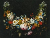 a swag of flowers by gaspar pieter verbruggen the younger