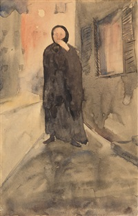 woman in black in an alley by charles demuth