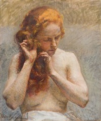 weiblicher halbakt, das haar flechtend by vlacho bukovac