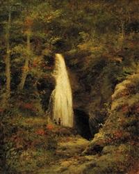 woodland waterfall by george frank higgins