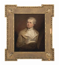 self-portrait of an artist, said to be samuel de wilde, seated, in a buff coat with a white waistcoat and a white cravat by samuel de wilde