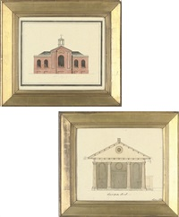 front elevation for the church of st. paul, covent garden (+ front elevation for st. giles chapel, st. pancras; pair) by henry bailey