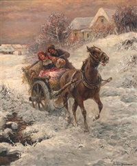 couple in a horse-drawn sled by p. stajanow