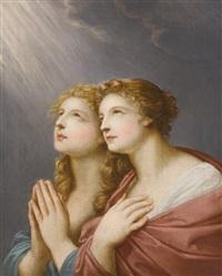 study for two female figures praying by friedrich heinrich füger