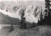 hochgebirgslandschaft mit einem von tannen gesäumten see by georg johann arnold