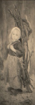 a young girl carrying faggots by ernest noir