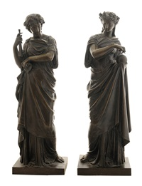 allegorical neoclassical figures representing science and music (pair) by mathurin moreau