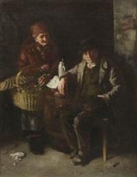 altes bauernpaar bei der brotzeit by theodor alt