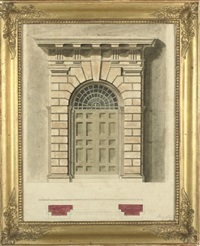 design for a palladian doorway (+ 3 others; 4 works) by henry bailey