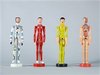 we are wooden dolls: sports school student (red); astronaut; bruce lee; & dissected man (4 works) by chen fei