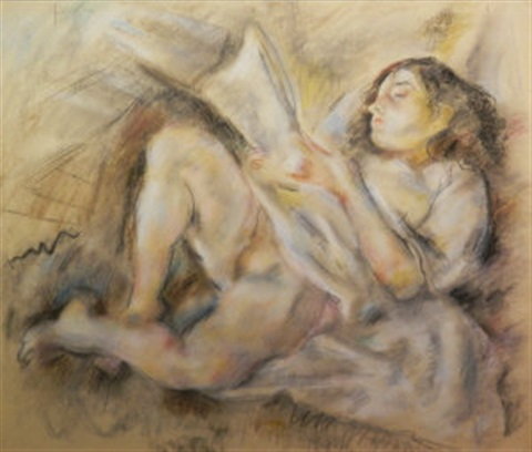 femme lisant by jules pascin