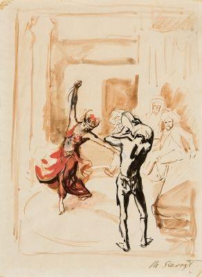 ali baba der tanz der morgiane mit dem dolch tamburinspieler pen and ink sketch verso by max slevogt