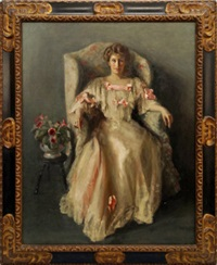 portrait of a lady seated full-length in white dress with pink ribbons and roses by margaret kemplay snowdon