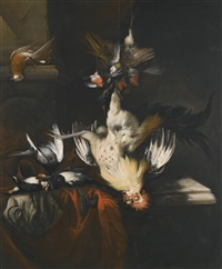 still-life of dead game and songbirds by william gowe ferguson