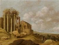 italienische ruinenlandschaft mit hirten by charles cornelisz de hooch