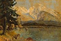 hochgebirgslandschaft mit see by ludwig von andok