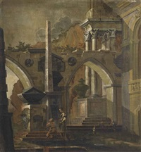 an architectural capriccio with figures before an obelisk by antonio visentini
