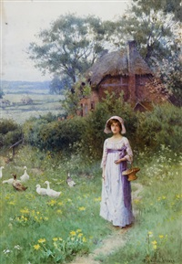 girl and geese in a garden before a thatched cottage by william affleck