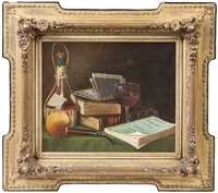 still life with wine glass, pipe & books by maurice a. waas
