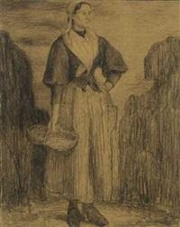 bretonische bäuerin by charles edmond theodore milcendeau