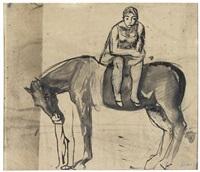 figura femminile a cavallo (double-sided) by mario sironi