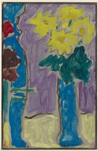 stillleben: gelbe blumen in blauer vase by alexej jawlensky