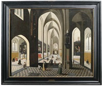kircheninterieur mit reicher figurenstaffage by peeter neeffs the elder