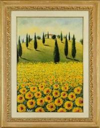paysage de toscane (girasoli) by mario soave