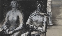 two seated women by henry moore