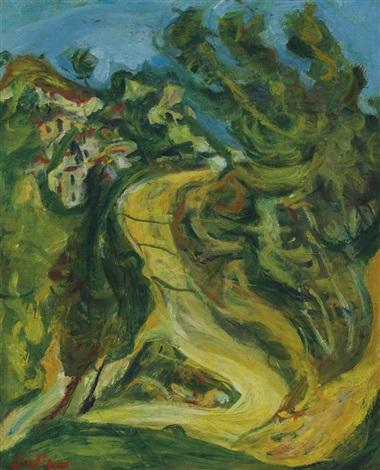 paysage à la route montante by chaïm soutine
