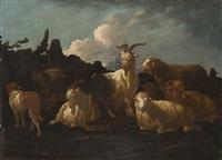 armenti con cane, pecore e capre by philipp peter roos