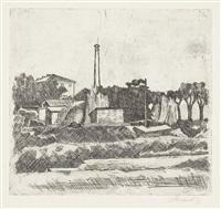 paesaggio con la ciminiera (sobborghi di bologna) by giorgio morandi