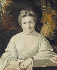 portrait of a nelly o'brien (c.1739-1768), three-quarter-length, in white dress, with a pearl necklace and headdress, in a wooded landscape by joshua reynolds