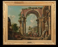 architectural capriccio with statues of marcus aurelius and silenus with the infant dionysos by giovanni paolo panini