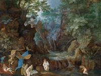 eine bewaldete landschaft mit badenden nymphen und leda mit dem schwan by roelandt savery