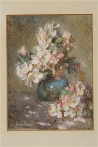 still life of blossom in a vase by sir george clausen