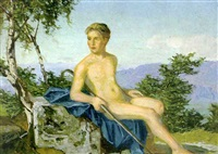 male nude in landscape by wilhelm haller