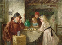 children and a fisherman in a cottage playing draughts by charles hunt