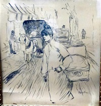 print of a young lady in a street scene by henri de toulouse-lautrec